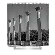 Monochrome Columns Shower Curtain