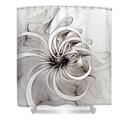 Monochrome Flower Shower Curtain