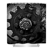 Monochrome Gear Shower Curtain