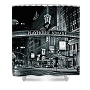 Monochrome Grayscale Palyhouse Square Shower Curtain