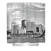 Monochrome Pittsburgh Panorama Shower Curtain