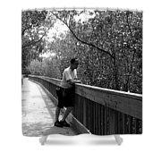 Monochrome Weedon Island Boardwalk  Shower Curtain