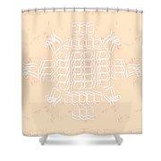 Monogram Qm Ivorypink Shower Curtain