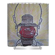 Monon Red Globe Railroad Lantern Shower Curtain