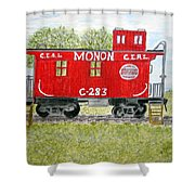 Monon Wood Caboose Train C 283 1950s Shower Curtain