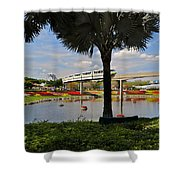Monorail At Epcot Shower Curtain