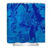 Monotone Blue Shower Curtain