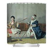 Monsieur Levett And Mademoiselle Helene Glavany In Turkish Costumes Shower Curtain
