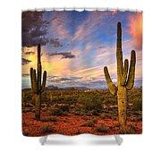 Monsoon Desert Sunset  Shower Curtain