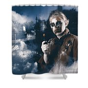 Monster In Cemetery Holding Gun. Grave Robber Shower Curtain by Jorgo Photography - Wall Art Gallery