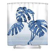 Monstera Leaf-blue Shower Curtain
