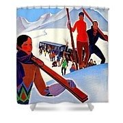 Mont Blanc, Mountain, France, Skiing Shower Curtain