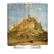 Mont St Michel From The Sands By David Roberts Shower Curtain