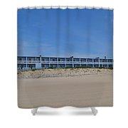 Building At The Beach, Montauk, Ny Shower Curtain