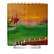 Montauk Marina Shower Curtain