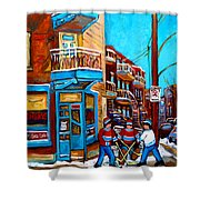 Montreal City Scene Hockey At Wilenskys Shower Curtain
