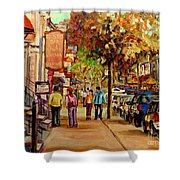 Montreal Downtown  Crescent Street Couples Walking Near Cafes And Rstaurants City Scenes Art    Shower Curtain