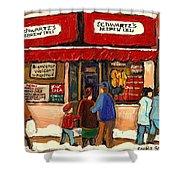 Montreal Hebrew Delicatessen Schwartzs By Montreal Streetscene Artist Carole Spandau Shower Curtain