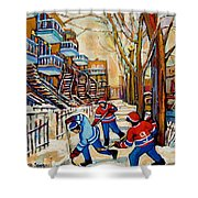 Montreal Hockey Game With 3 Boys Shower Curtain