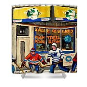 Montreal Poolroom Hockey Fans Shower Curtain