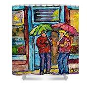 Montreal Rainy Day Paintings April Showers Umbrella Conversation At Wilensky's Deli C Spandau Quebec Shower Curtain