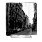Montreal Street Black And White Shower Curtain