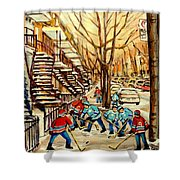 Montreal Street Hockey Paintings Shower Curtain