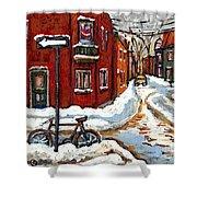 Montreal Street In Winter La Ville En Hiver Buy Montreal Paintings Petits Formats Peintures A Vendre Shower Curtain