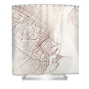 Montreal Street Map Colorful Copper Modern Minimalist Shower Curtain