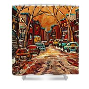 Montreal Streets In Winter Shower Curtain