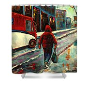 Montreal Streets Winter Morning Shower Curtain