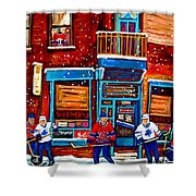 Montreal Wilensky Deli By Carole Spandau Montreal Streetscene And Hockey Artist Shower Curtain
