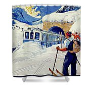 Montreux, Berner Oberland Railway, Switzerland, Winter, Ski, Sport Shower Curtain