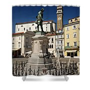 Monument And Statue Of Giuseppe Tartini At Tartini Square Piran  Shower Curtain