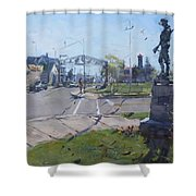 Monument At Pine Ave And Portage Rd Shower Curtain