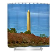 Monument Blossoms, Japanese Cherry Blossom Trees With The Washington Monument In The Background Shower Curtain