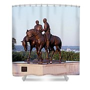 Monument In Nauvoo Illinois Of Hyrum And Joseph Smith Riding Their Horses Shower Curtain