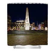 Monument On The Dam In Amsterdam Netherlands At Night Shower Curtain