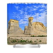 Monument Rocks In Kansas 2 Shower Curtain