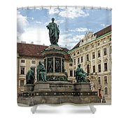 Monument To Emperor Franz I, Innerer Burghof In The Hofburg Imperial Palace. Vienna, Austria. Shower Curtain
