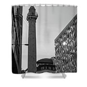 Monument To The Great Fire Of London Bw Shower Curtain