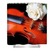 Moody Violin And Rose  Shower Curtain