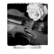 Moody Violin And Rose In Black And White Shower Curtain