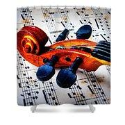 Moody Violin Scroll On Sheet Music Shower Curtain