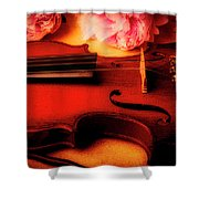 Moody Violin With Peonies Shower Curtain