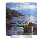 Moon Above The Olympic Peninsula Shower Curtain