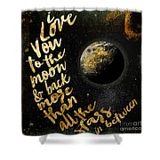 Moon And Back Stars Night Shower Curtain