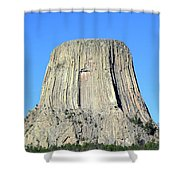 Moon And Devil's Tower National Monument, Wyoming Shower Curtain