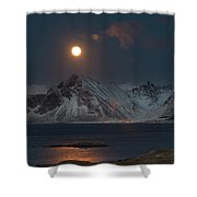 Moon And Mountains In Lofoten Shower Curtain