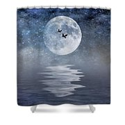 Moon And Sea Shower Curtain